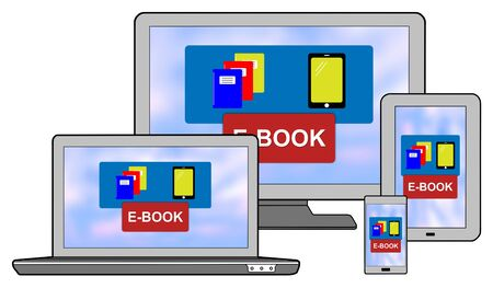 E-book concept shown on different information technology devices Stok Fotoğraf