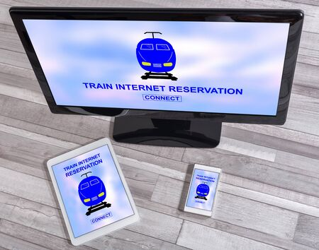 Train internet reservation concept shown on different information technology devices