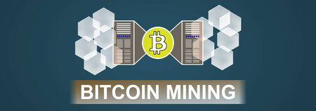Illustration of a bitcoin mining concept