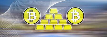 Illustration of a bitcoin virtual gold concept