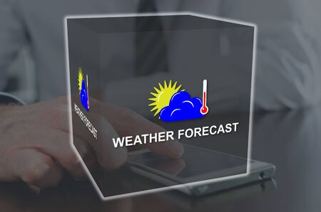 Weather forecast concept illustrated by a picture on background