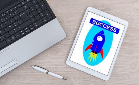 Success concept shown on a digital tablet Banque d'images