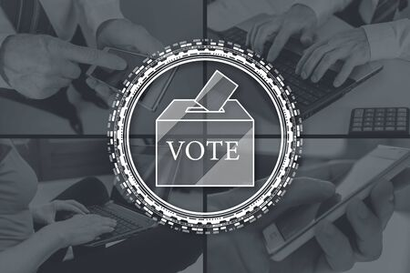 Vote concept illustrated by pictures on background