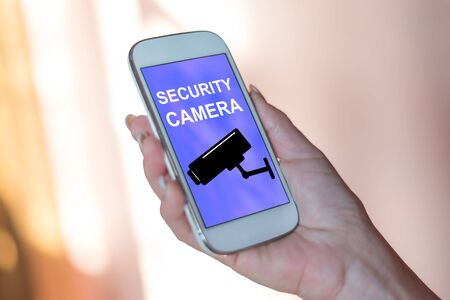 Smartphone screen displaying a security camera concept Banque d'images - 130050778