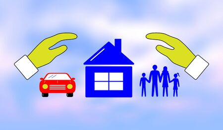 Illustration of a family, home and car insurance concept Stockfoto