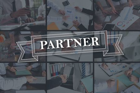 Partner concept illustrated by pictures on background