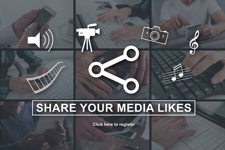 Media likes sharing concept illustrated by pictures on background