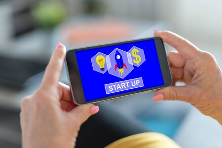 Smartphone screen displaying a start up concept