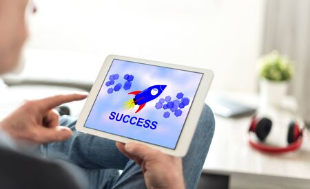 Tablet screen displaying a success concept