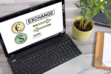 Laptop screen with exchange concept