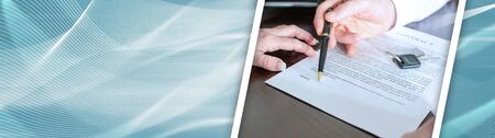 Dealer showing the signature place of a contract with his pen; panoramic banner Stockfoto