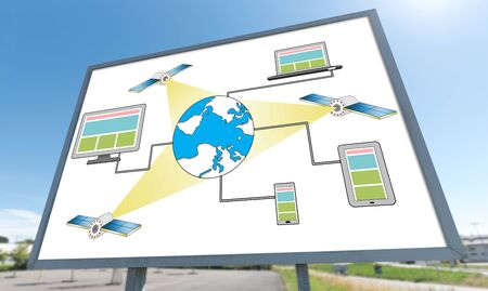 Satellite network concept drawn on a billboard Banque d'images - 130052457