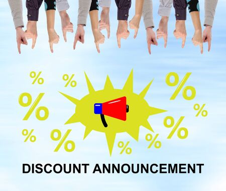 Discount announcement concept pointed by several fingers Фото со стока