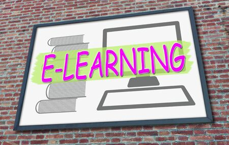 E-learning concept drawn on a billboard fixed on a brick wall
