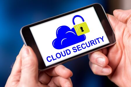 Smartphone screen displaying a cloud security concept Stok Fotoğraf