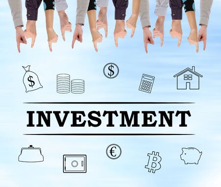 Investment concept pointed by several fingers Banco de Imagens