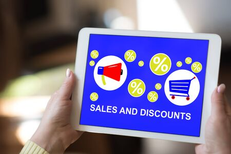 Tablet screen displaying a sales and discounts concept