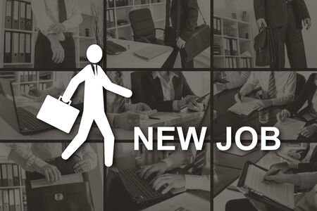 New job concept illustrated by pictures on background Stok Fotoğraf