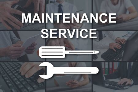Maintenance service concept illustrated by pictures on background