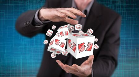 Spam concept between hands of a man in background Stock Photo