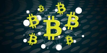 Illustration of a bitcoin concept Фото со стока