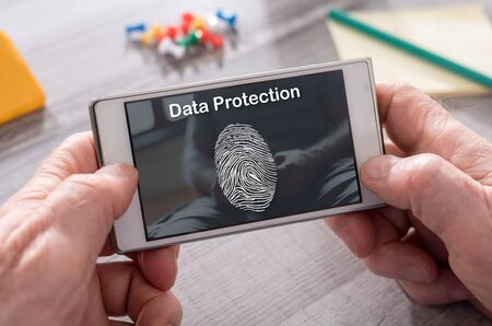 Data protection concept on mobile phone Фото со стока
