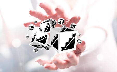 Business progress concept between hands of a woman in background Stock fotó