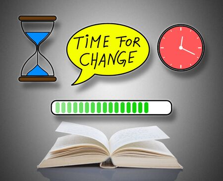 Time for change concept above an open book
