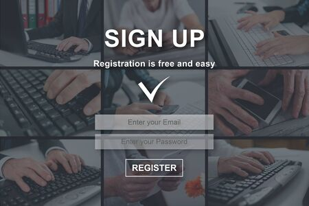Sign up concept illustrated by pictures on background Zdjęcie Seryjne