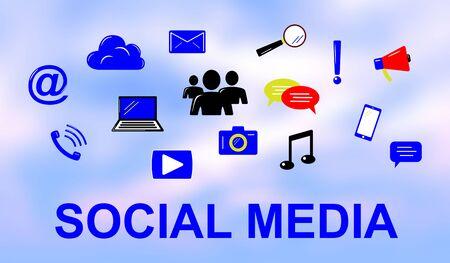 Illustration of a social media concept Фото со стока