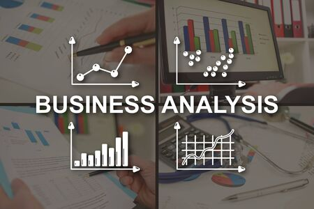 Business analysis concept illustrated by pictures on background
