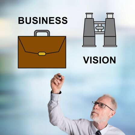 Business vision concept drawn by a businessman
