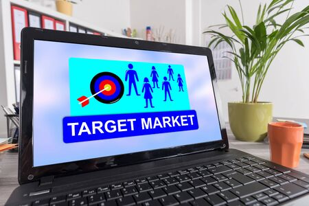 Laptop screen with target market concept