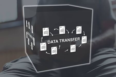 Data transfer concept illustrated by a picture on background