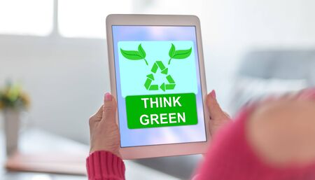 Tablet screen displaying a think green concept