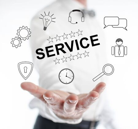 Service concept levitating above a hand of a man