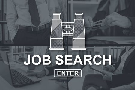 Job search concept illustrated by pictures on background