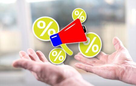 Discount announcement concept above the hands of a man Banco de Imagens