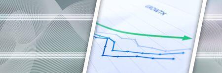 Financial graphs showing growth closeup; panoramic banner Banco de Imagens