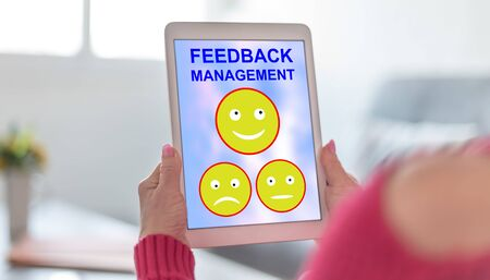 Tablet screen displaying a feedback management concept