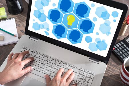 Teamwork idea concept shown on a laptop screen Фото со стока