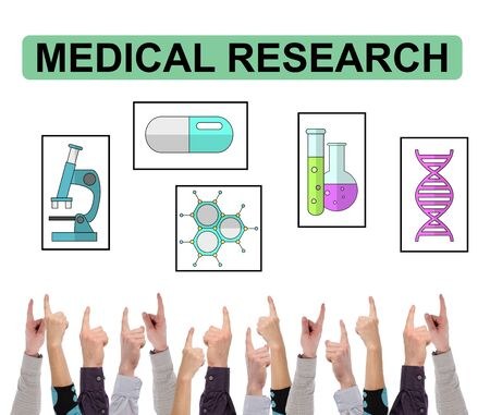 Medical research concept on white background pointed by several fingers