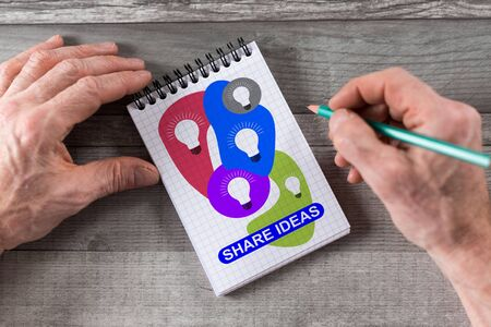 Share ideas concept drawn on a notepad Stok Fotoğraf