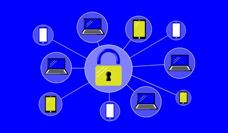 Illustration of a password protected concept