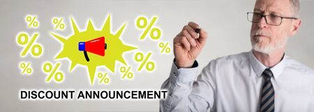 Discount announcement concept drawn by a businessman