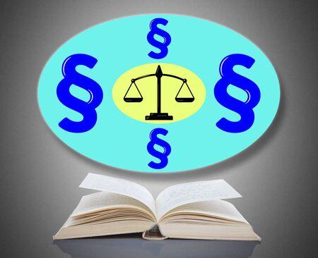 Law concept above an open book Banco de Imagens