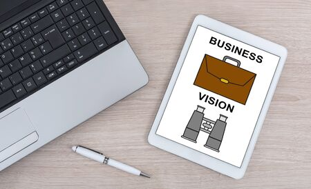 Business vision concept shown on a digital tablet