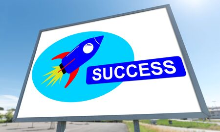 Success concept drawn on a billboard 版權商用圖片