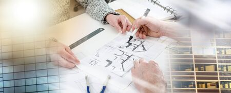 Architect showing house plans to his client; multiple exposure