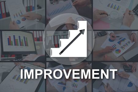 Improvement concept illustrated by pictures on background